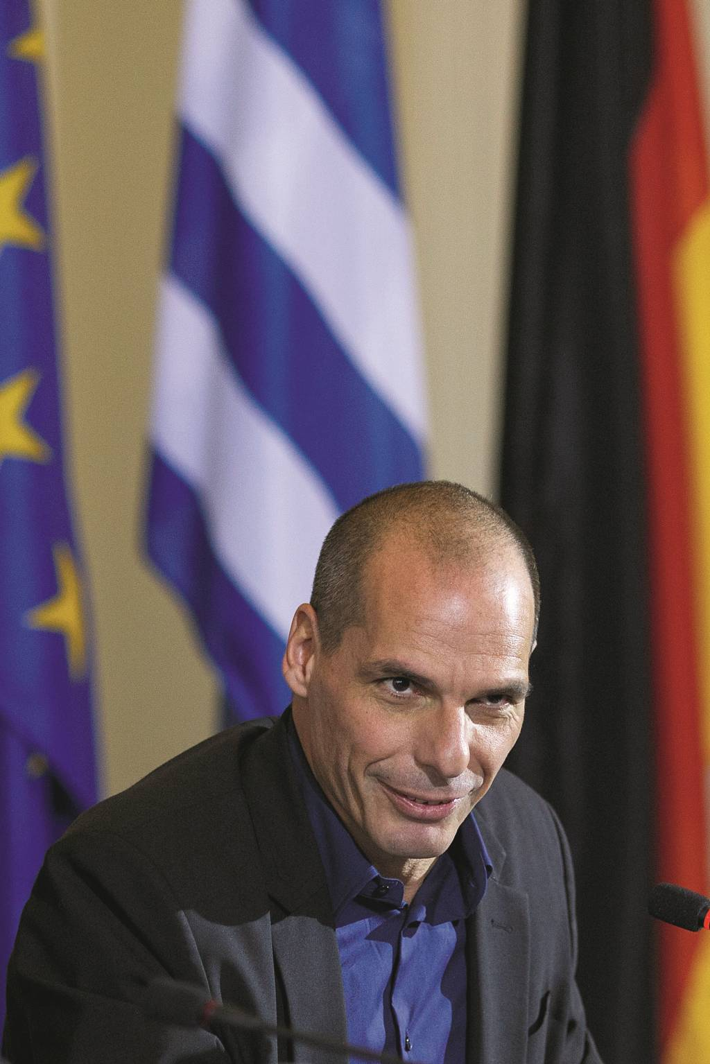 BERLIN, GERMANY - FEBRUARY 05:  New Greek Finance Minister Yanis Varoufakis attends a press conference with German Finance Minister Wolfgang Schaeuble following talks on February 5, 2015 in Berlin, Germany. Varoufakis is touring several European cities and yesterday met with Mario Draghi at the European Central Bank following announcements by the new Greek government to sharply alter its relationship with the troika of loan-giving entities.  (Photo by Carsten Koall/Getty Images)