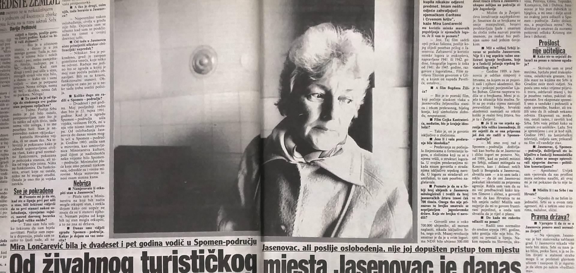 NAKON DUGE I TEŠKE BOLESTI PREMINULA MIRA LONČAREVIĆ Žena koja je 90-ih upozorila na zatiranje antifašizma