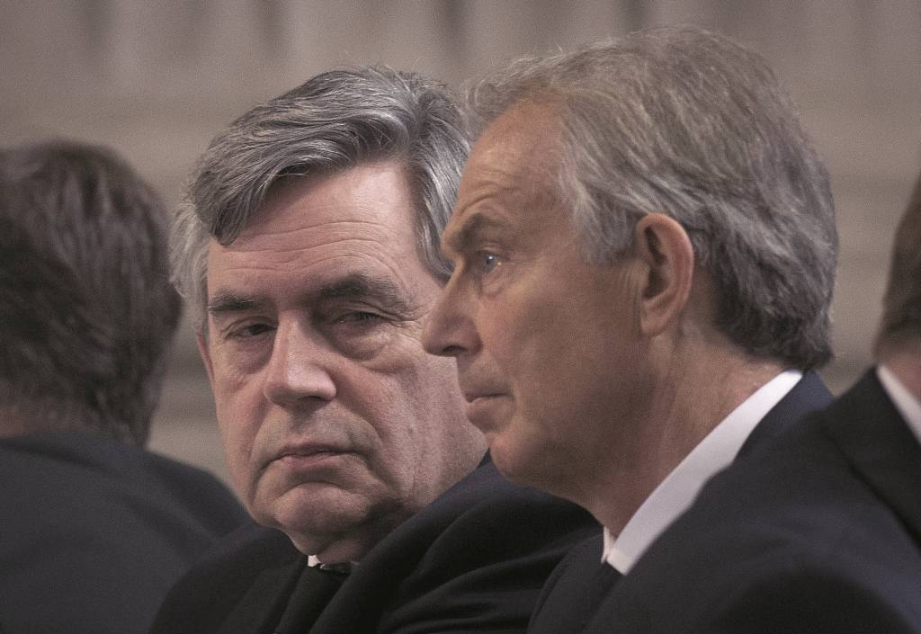 LONDON, ENGLAND - MARCH 13:   Former Prime Ministers Tony Blair and Gordon Brown attend the Afghanistan service of commemoration at St Paul's Cathedral on March 13, 2015 in London, England.  (Photo by Bradley Page - WPA Pool / Getty Images)