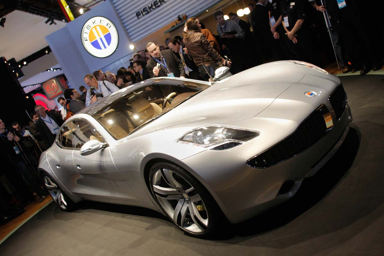 DETROIT - JANUARY 14: The new 2009 Fisker Karma production vehicle is introduced to the media at the 2008 North American International Auto Show January 14, 2008 in Detroit, Michigan. The NAIAS is the world's largest auto show.  (Photo by Bill Pugliano/Getty Images)