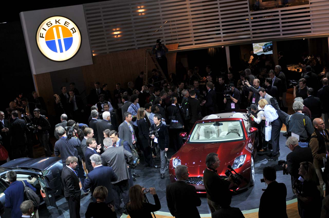 DETROIT - JANUARY 11:  Fisker Automotive shows off the Karma S plug-in hybrid during the second press preview for the Detroit International Auto Show at the Cobo Center January 12, 2009 in Detroit, Michigan. The 2009 North American International Auto Show (NAIAS) opens to the public January 17. Automakers have cut back on their displays to save money and are focusing more on the cars they plan to produce in response to the financial weakening of the industry.  (Photo by Bryan Mitchell/Getty Images)
