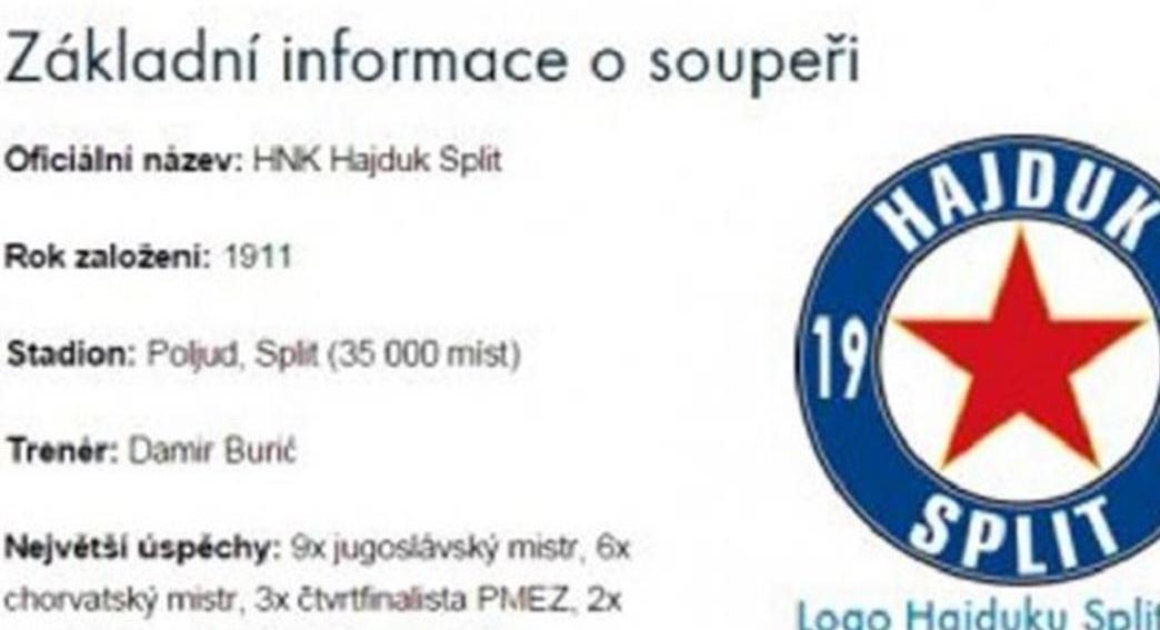 SLOVAN LIBEREC Česi na službenoj stranici predstavili Hajduk s crvenom petokrakom