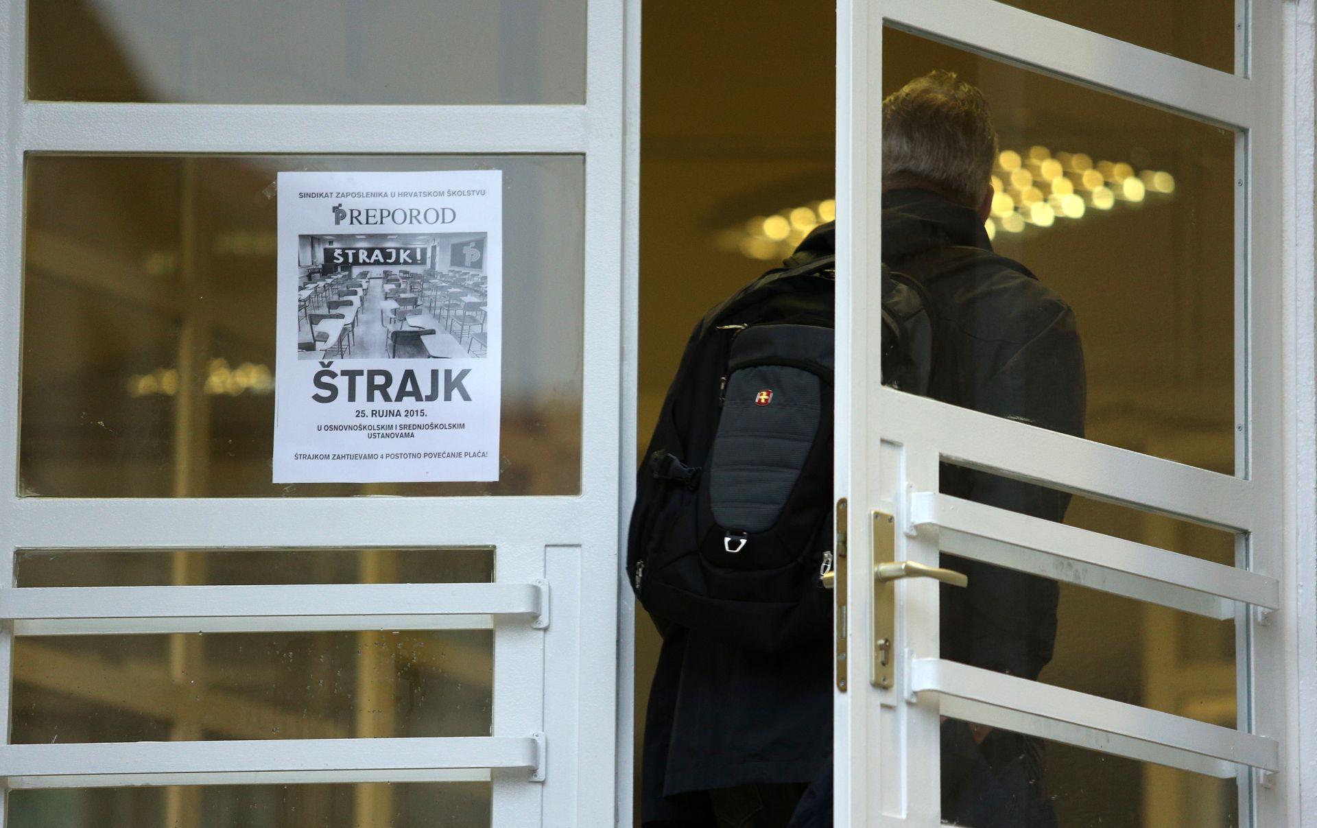 Nastavlja se štrajk u školama, poslijepodne novi pregovori