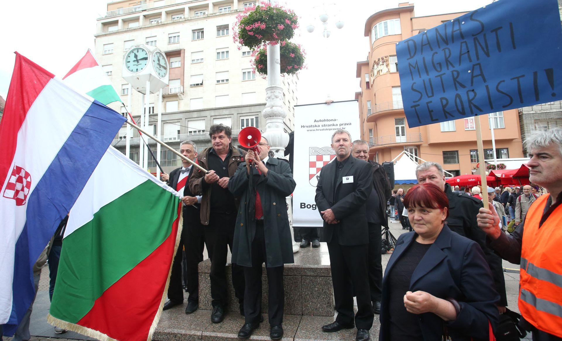 Zagreb: Prosvjed protiv ulaska migranata okupio vrlo mali broj ljudi