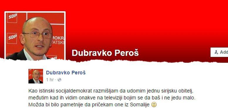 SDP osudio sramotan istup svoga člana Peroša o izbjeglicama