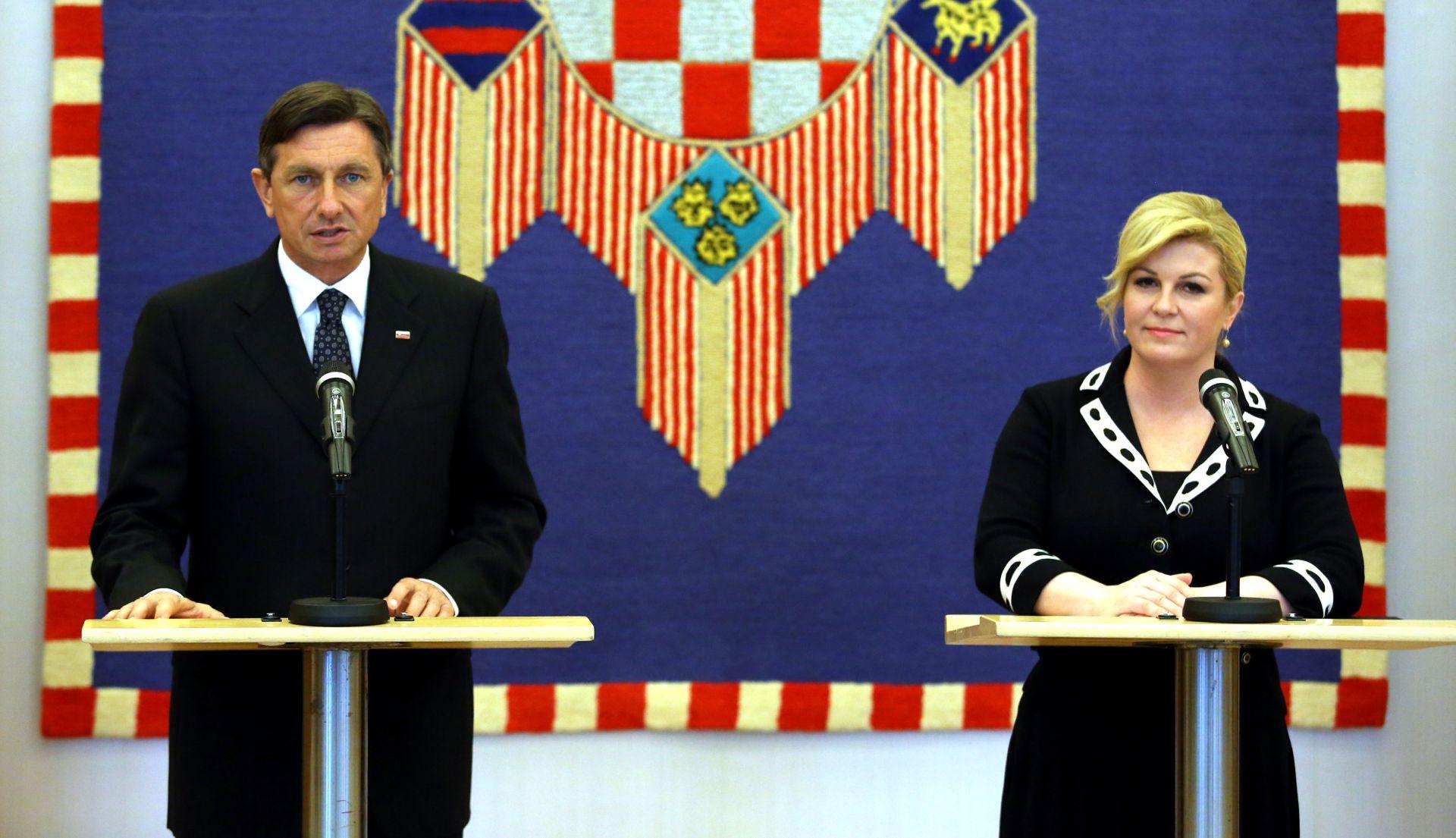 SLOVENIJA ODGOVORILA NA HRVATSKU NOTU Grabar-Kitarović i Pahor: Potrebno je izbjegavati incidente