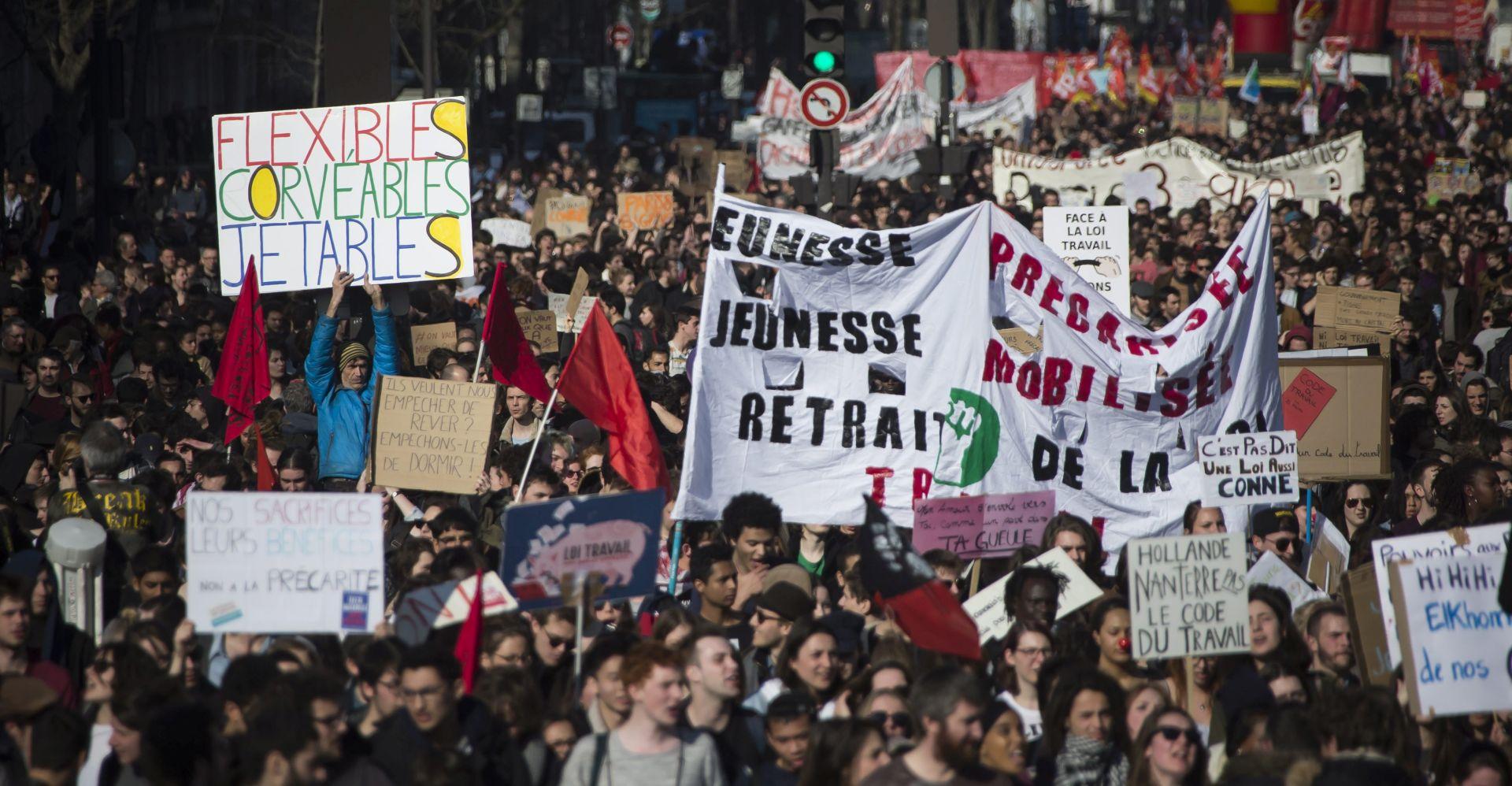 U Francuskoj prosvjedi mladih protiv zakona o radu obilježeni izgredima