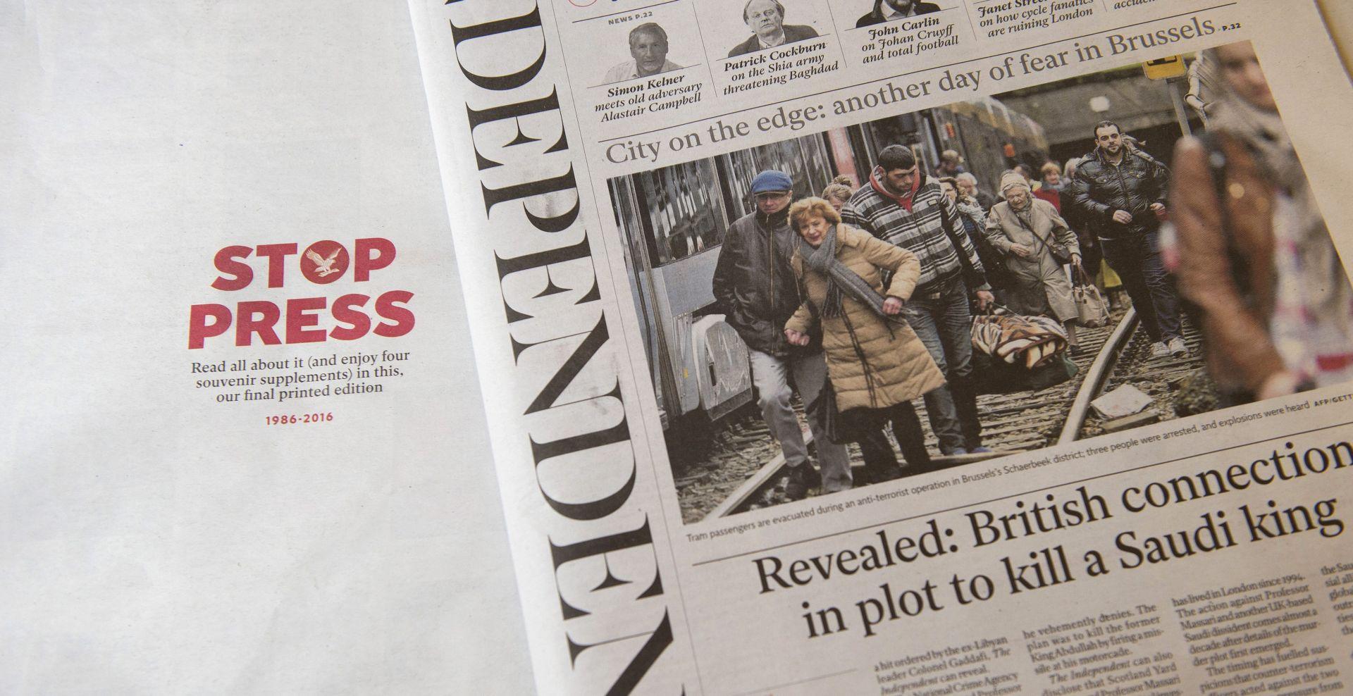 Tiskano izdanje dnevnika The Independent otišlo u povijest