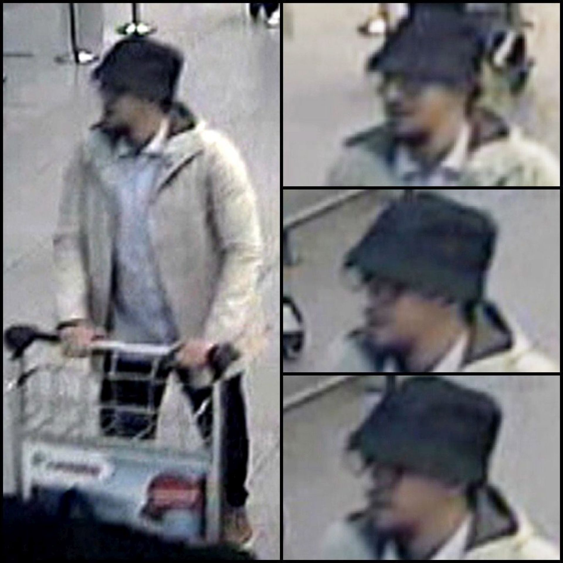 epa05233579 A composite handout photograph provided by Belgian Federal Police on 28 March 2016 shows CCTV grabs of a suspect in the Zaventem airport attack in Brussels, Belgium 22 March 2016. A surveillance camera at Zaventem airport in Brussels captured footage of the alleged perpetrators of the explosions that took place 22 March. Belgian police issued CCTV footage on 28 March 2016 in an attempt to identify the third suspect, dressed in a white jacket and wearing a black hat. EPA/BELGIAN FEDERAL POLICE / HANDOUT BEST QUALITY AVAILABLE HANDOUT EDITORIAL USE ONLY/NO SALES HANDOUT EDITORIAL USE ONLY/NO SALES