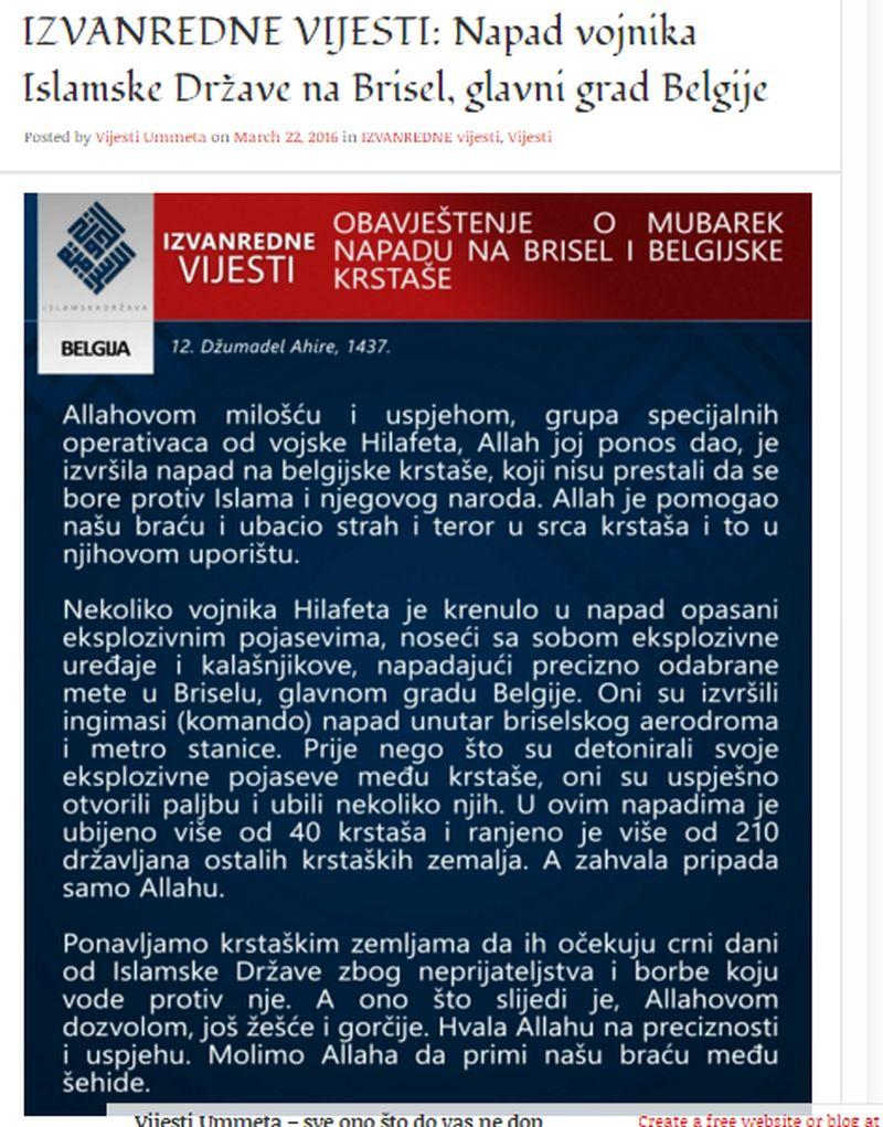 EKSTREMIZAM: Bosanske Vijesti ummeta pozdravile napad na Bruxelles i najavile nove terorističke akcije
