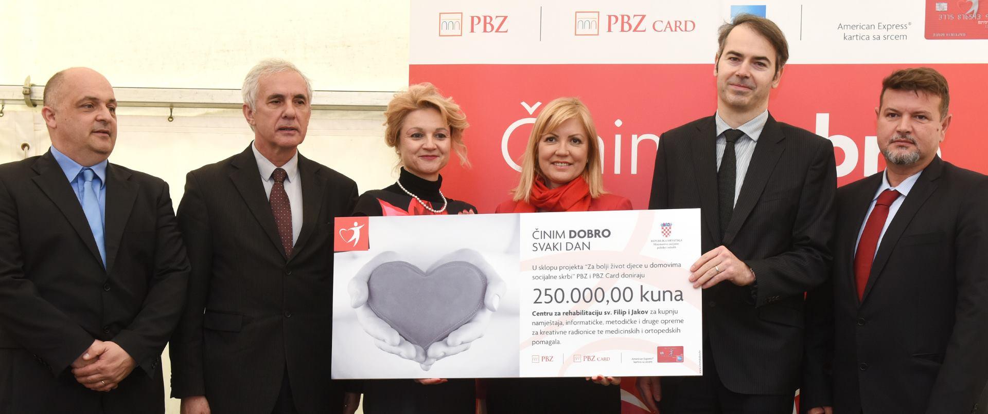 PBZ Grupa donirala 250 tisuća kuna Centru za rehabilitaciju Sv. Filip i Jakov