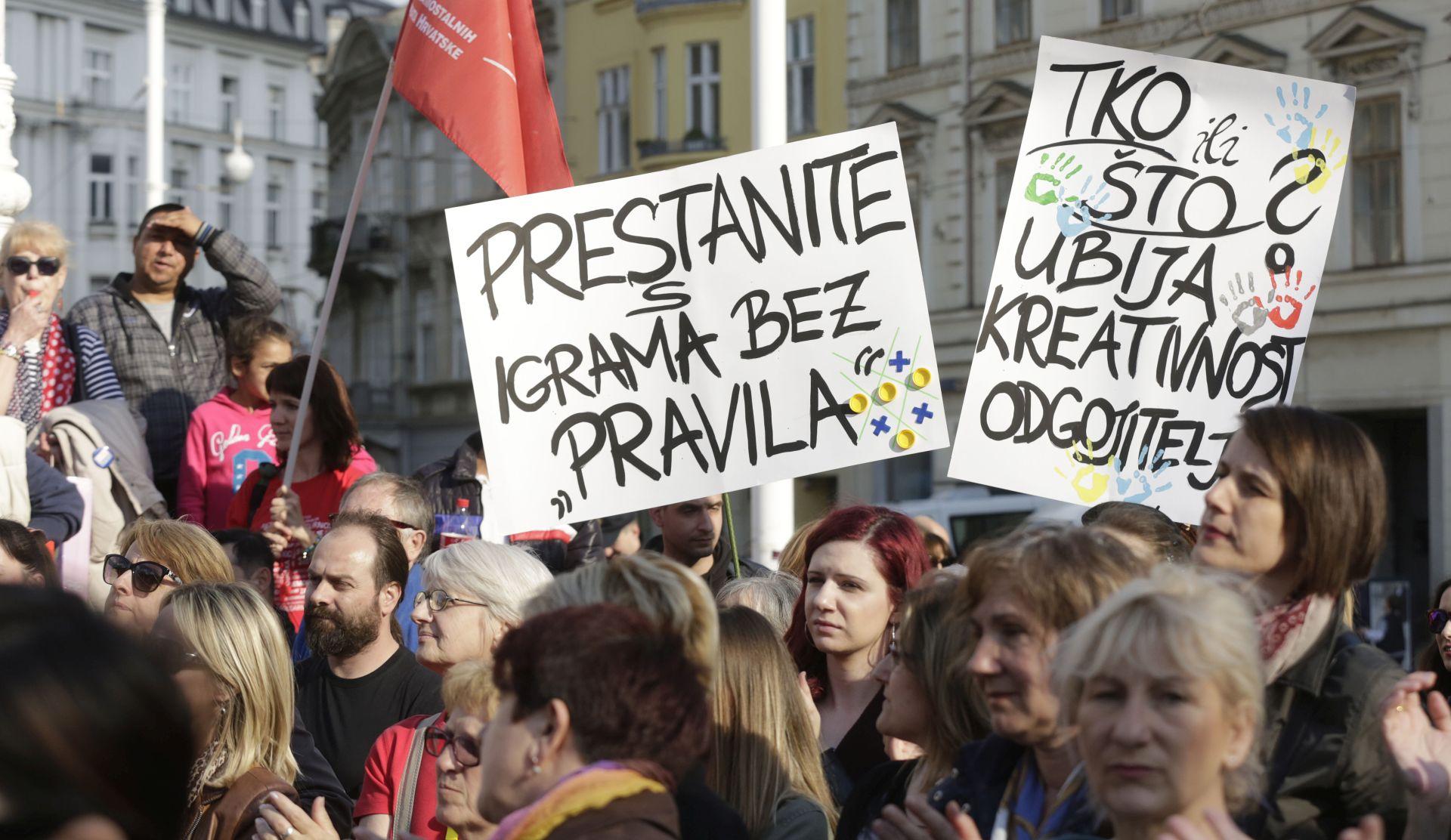 """""""DAJ 5 ZA DRŽAVNI PEDAGOŠKI STANDARD"""": Održan prosvjed za dostojanstvo struke i bolje uvjete rada"""
