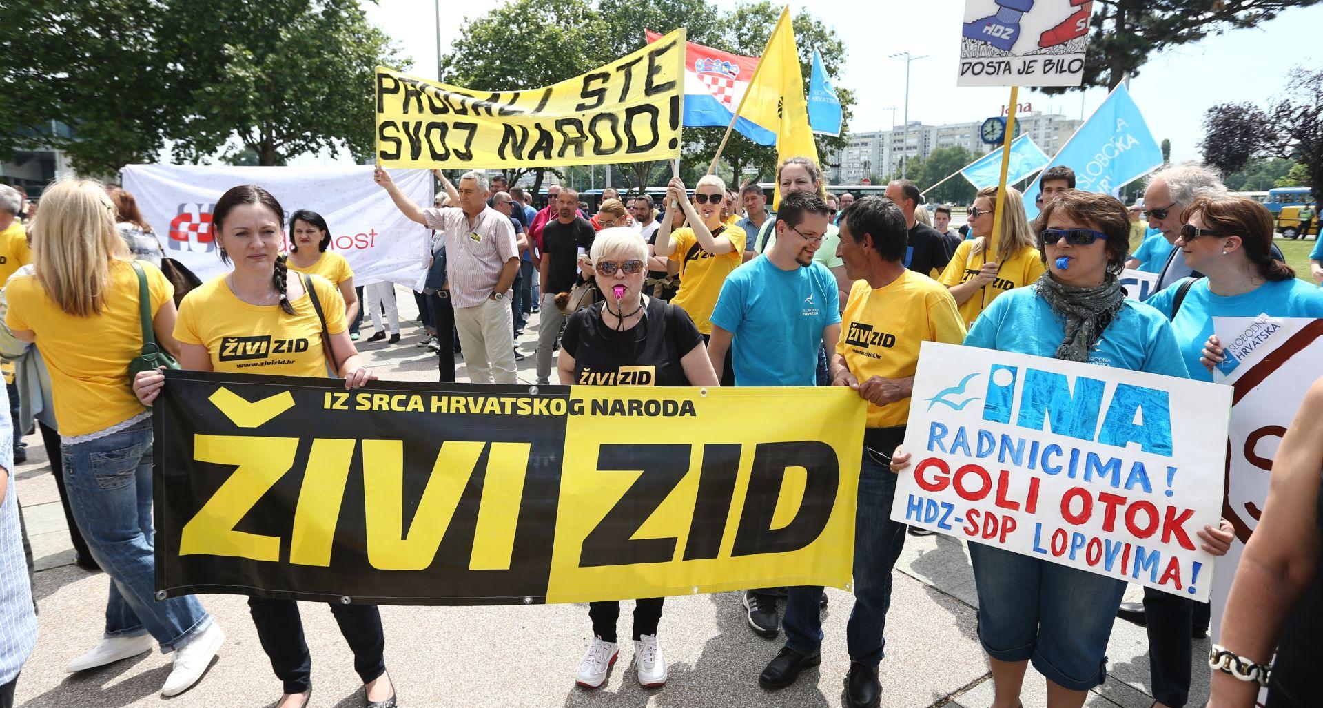 Ispred sjedišta Ine dvjestotinjak prosvjednika tražilo zaštitu nacionalnih interesa