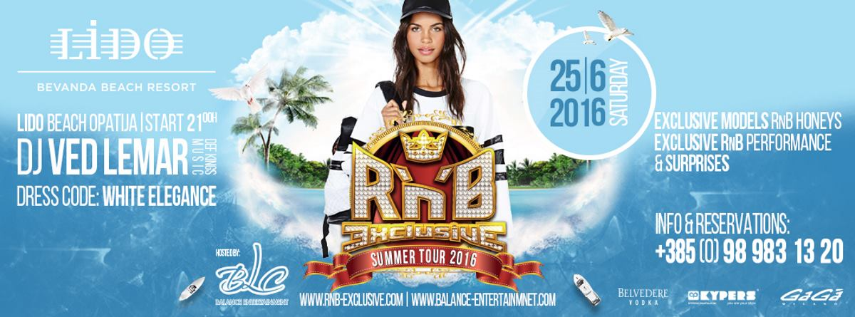 VIDEO: Počinje R'n'B Exclusive summer tour – 25. lipnja posjetite LIDO Bevanda Beach Resort