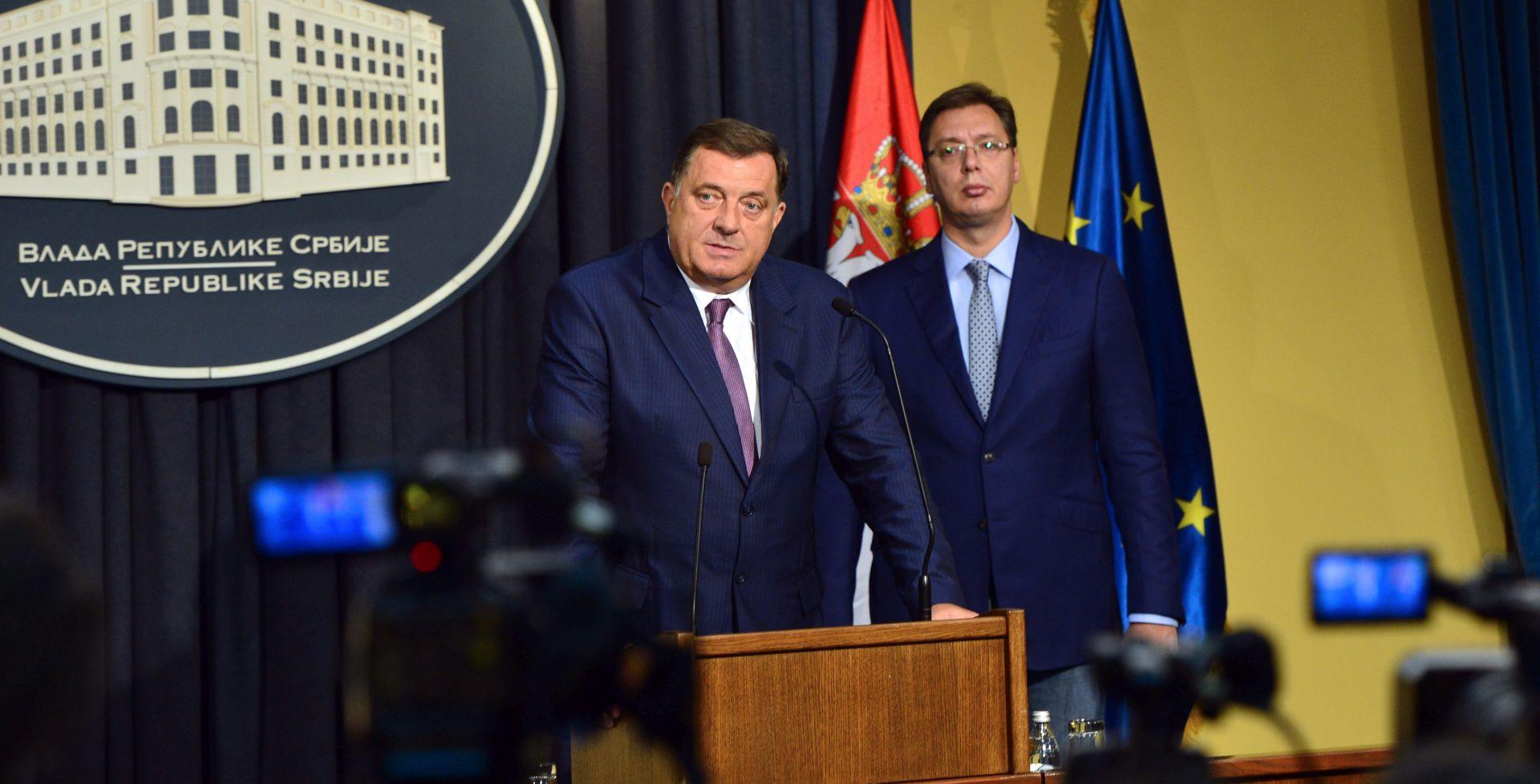 Vučić obećao potporu Srbima u BiH, Dodik želi nestanak granice na Drin