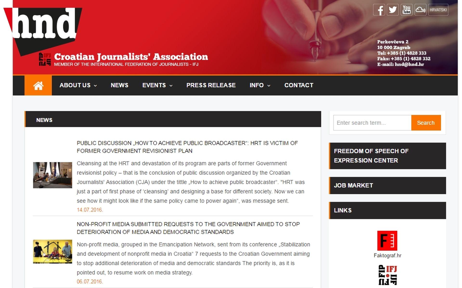 Portal Hrvatskog novinarskog društva dobio i englesku verziju