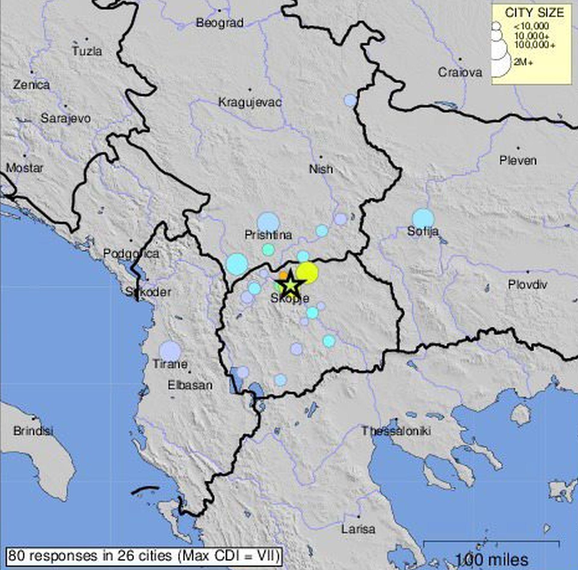 Potres pogodio okolicu Skoplja, nema izvješća o ozlijeđenim ili štetama