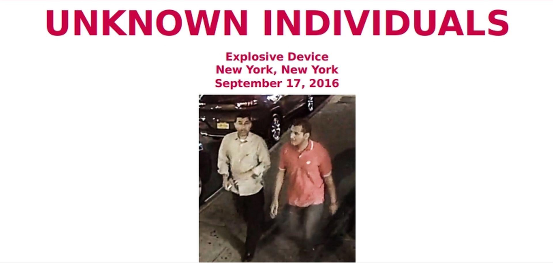 SNIMLJENI NADZORNIM KAMERAMA: FBI traži dvojicu muškaraca zbog povezanosti s eksplozijama u New Yorku