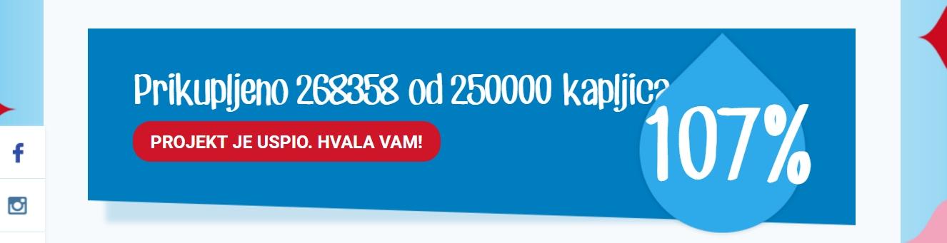 JANA VODA S PORUKOM Prikupljeno više od 260 tisuća kapljica za centar 'Vinko Bek'