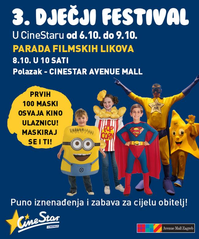 08. listopada u CineStaru Novi Zagreb, a proći će po cijelom Avenue Mallu. Vesela parada omiljenih likova iz crtanih filmova