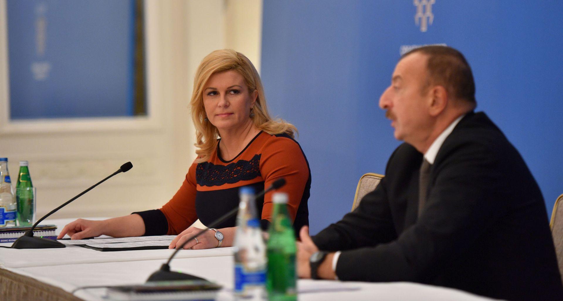 Grabar-Kitarović i Alijev snažno poduprli suradnju gospodarstava Hrvatske i Azerbajdžana