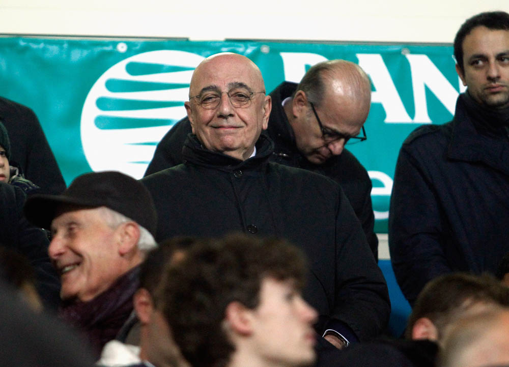 FROSINONE, ITALY - DECEMBER 20: General manager of Milan Adriano Galliani during the Serie A match between Frosinone Calcio and AC Milan at Stadio Matusa on December 20, 2015 in Frosinone, Italy. (Photo by Maurizio Lagana/Getty Images)