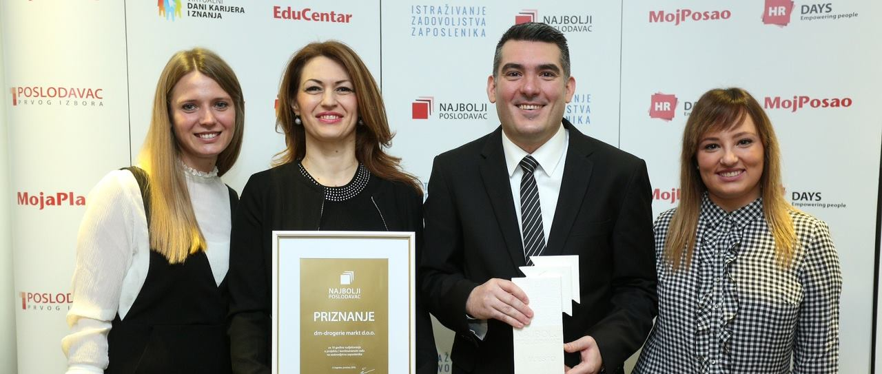 Tvrtka dm šesti put proglašena najboljim poslodavcem u Republici Hrvatskoj