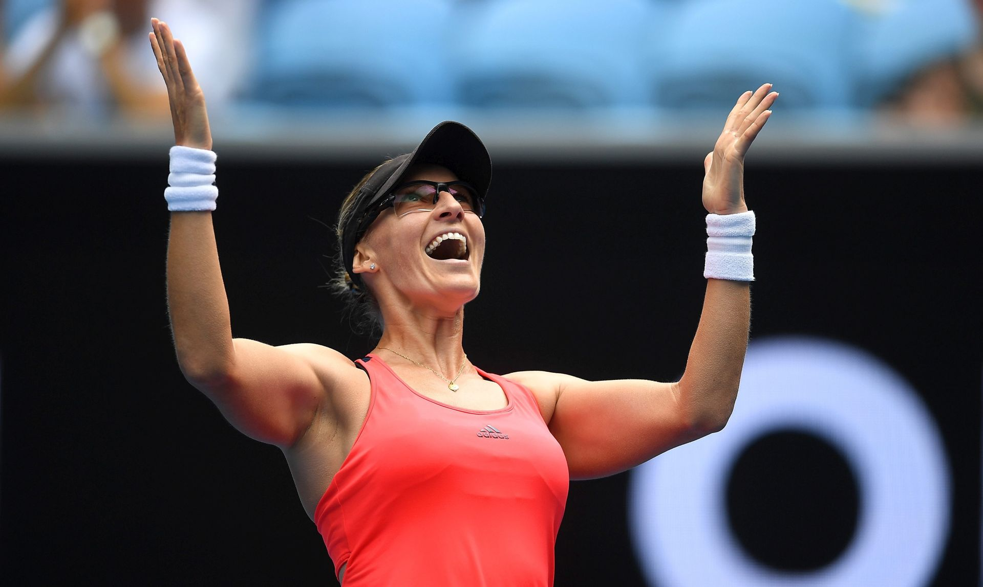 epa05743360 Mirjana Lucic-Baroni of Croatia celebrates her win over Jennifer Brady of the USA during round four of the Women's Singles at the Australian Open Grand Slam tennis tournament in Melbourne, Victoria, Australia, 23 January 2017. EPA/LUKAS COCH AUSTRALIA AND NEW ZEALAND OUT