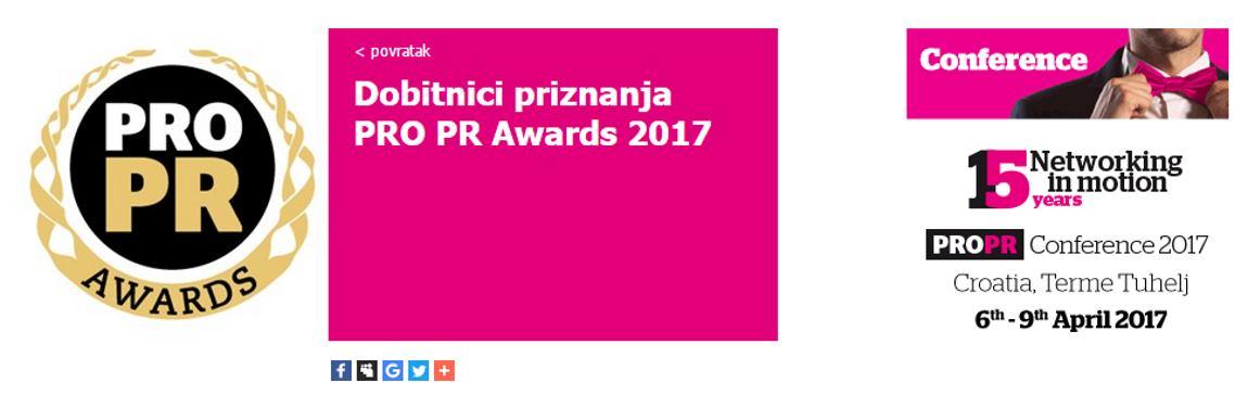 Objavljena imena dobitinika PRO PR AWARDS 2017