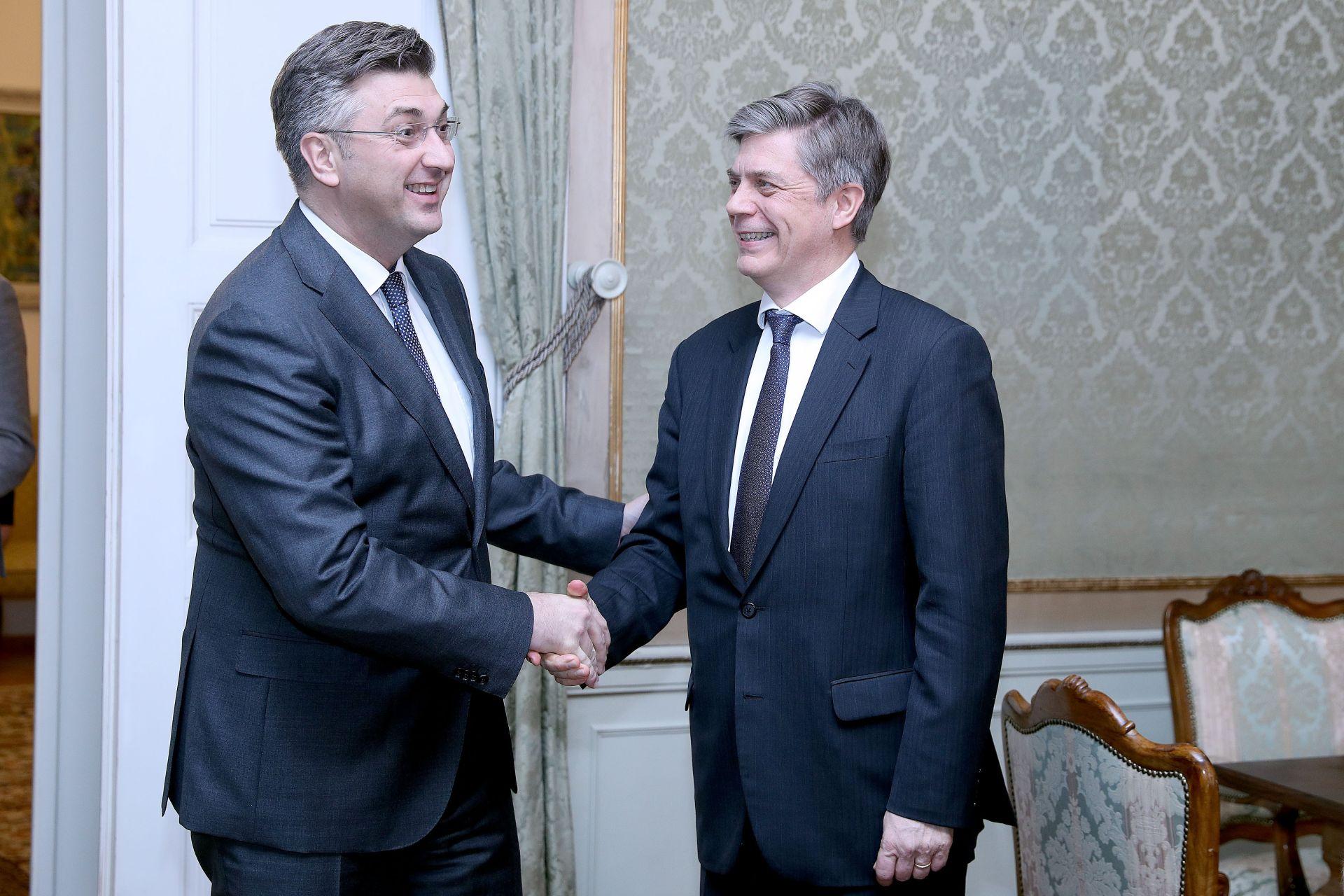 BANSKI DVORI: Premijer Plenković primio šefa Delegacije EU-a u BiH Wigemarka