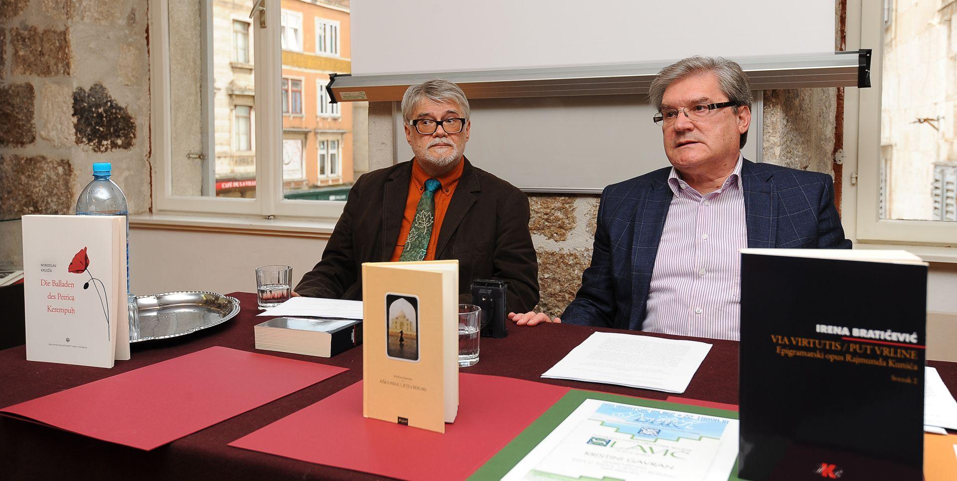 """Dobitnici književnih nagrada """"Judita"""", """"Davidias"""" i """"Slavić"""" Irena Bratičević, Boris Perić i Kristina Gavran"""