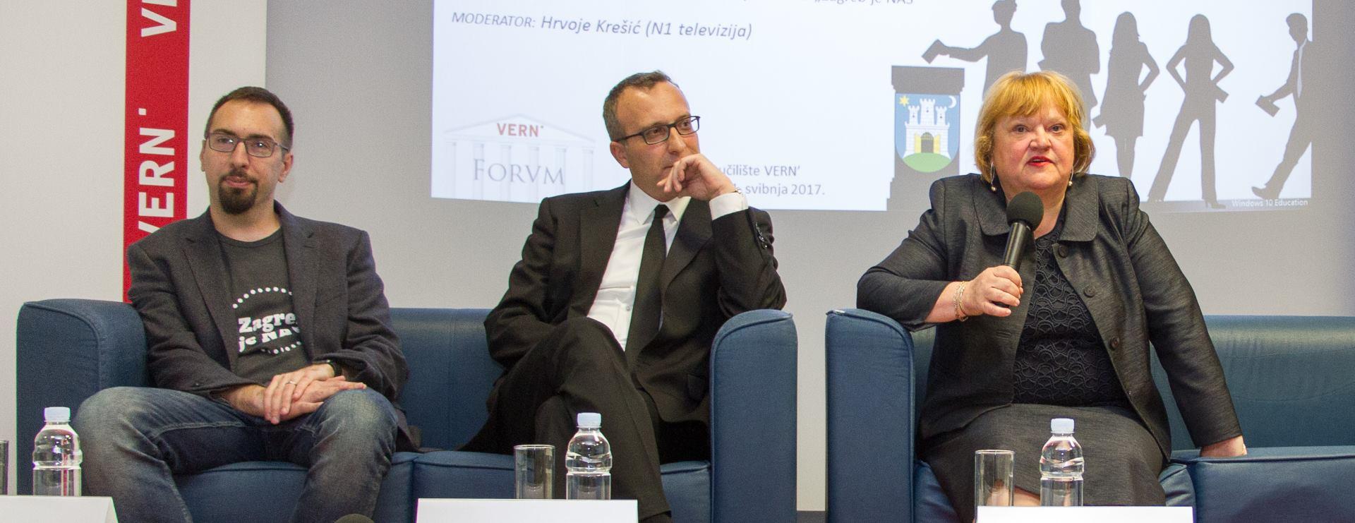 VELEUČILIŠTE VERN' Održan panel 'Lokalni izbori za Grada Zagreb' s Ankom Mrak Taritaš, Markom Sladoljevom i Tomislavom Tomaševićem
