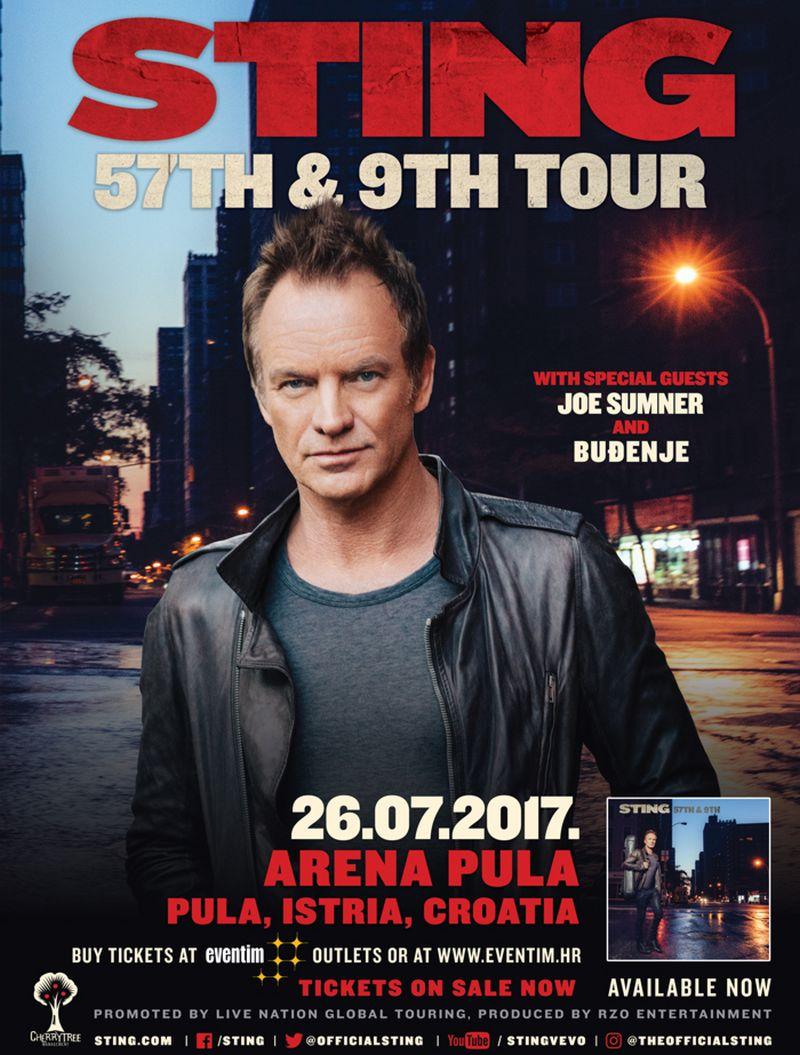 PULSKA ARENA Sting u sklopu turneje 57th & 9th predstavlja nove pjesme i poznate hitove grupe Police