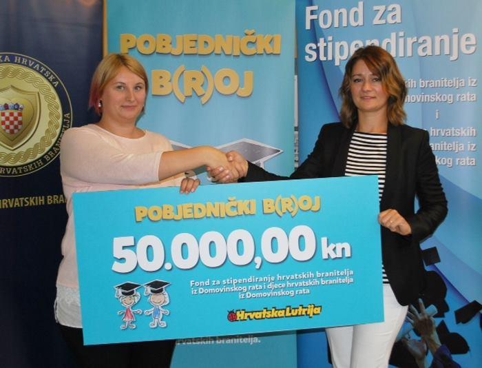 Hrvatska Lutrija uručila ček Fondu za stipendiranje hrvatskih branitelja i djece hrvatskih branitelja Domovinskog rata