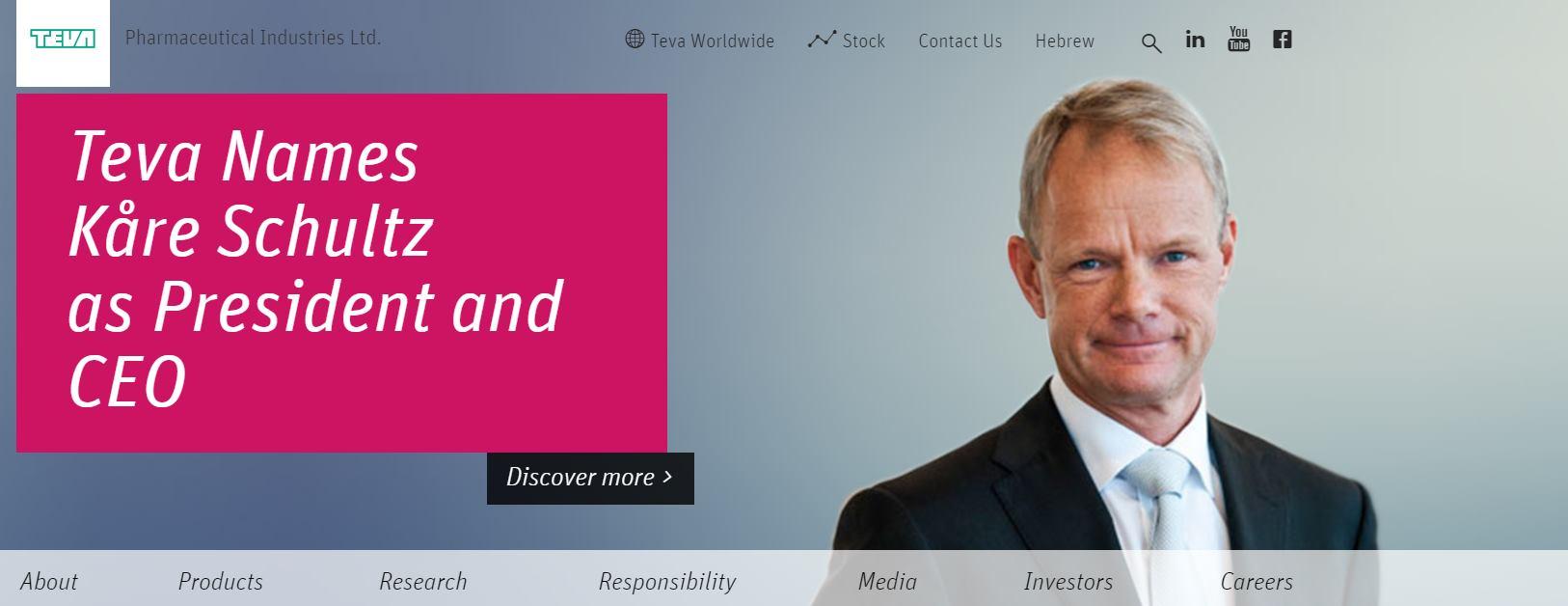 Teva imenovala Kårea Schultza predsjednikom i glavnim izvršnim direktorom