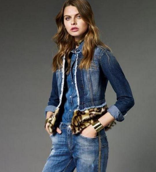 Liu Jo kolekcija denim traper jakni s krznom u boji