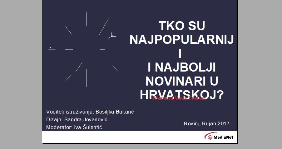 WEEKEND MEDIA FESTIVAL Objavljeni rezultati MediaNetovog istraživanja – Tko je hrvatski omiljeni novinar