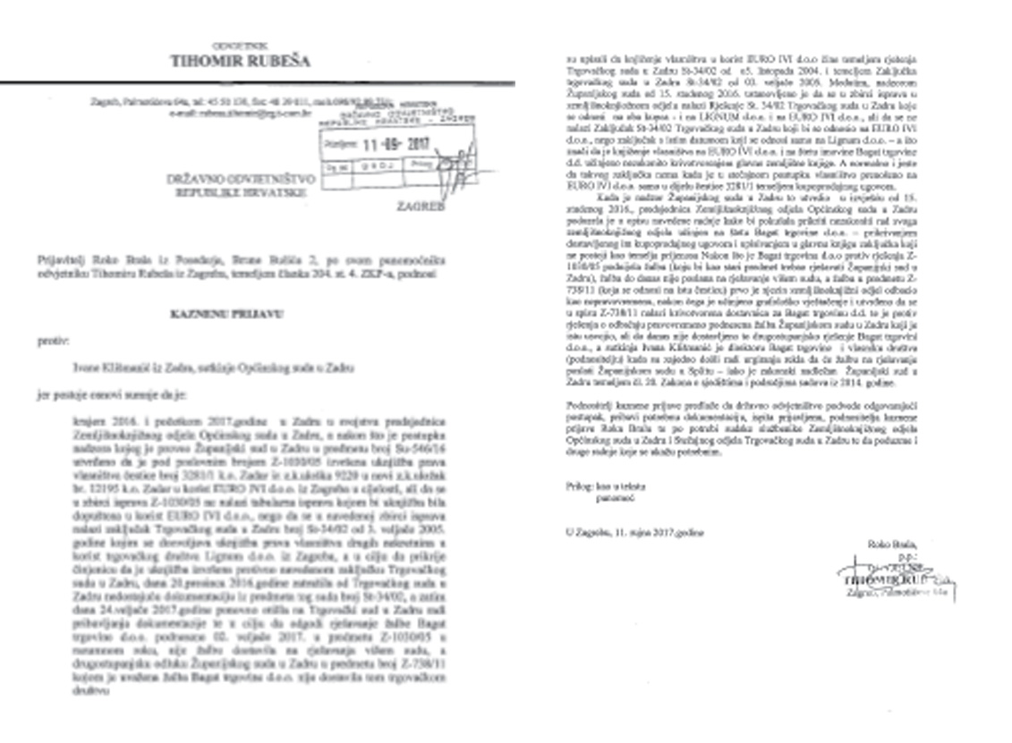 Zadarski poduzetnik podnio kaznenu prijavu protiv sutkinje Ivane Klišmanić
