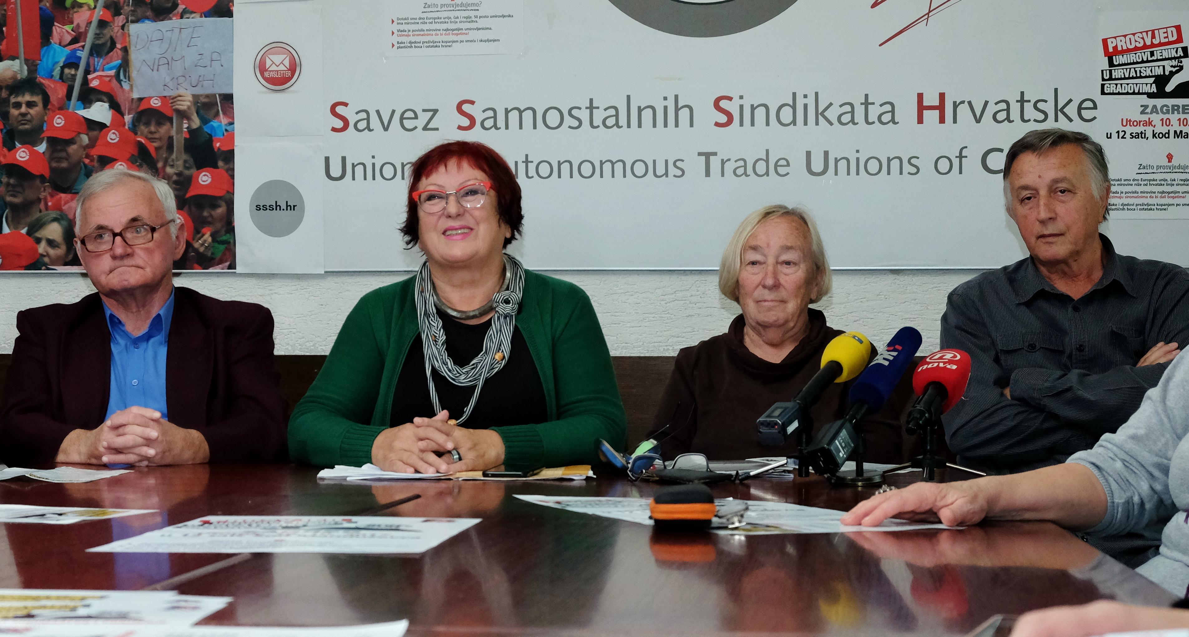 Prosvjed umirovljenika u šest hrvatskih gradova