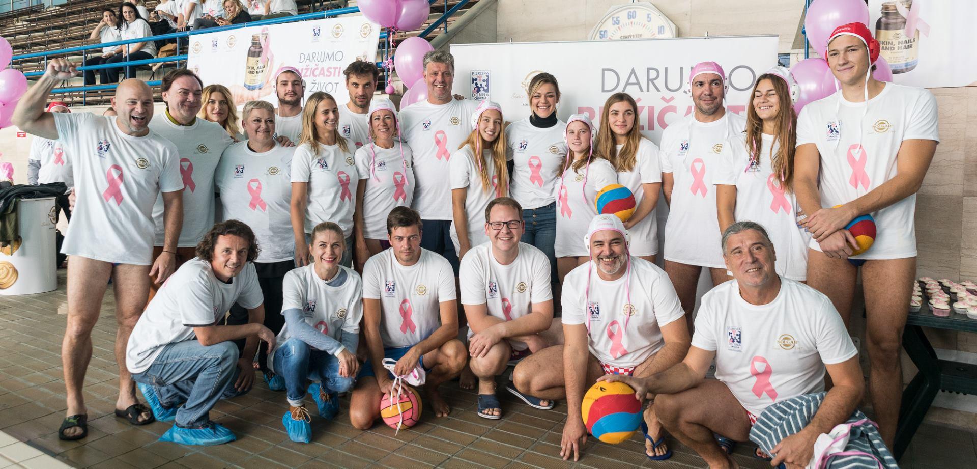 FOTO: 'Ružičastom' vaterpolskom utakmicom najavljen nastavak kampanje 'Darujmo ružičasti život'