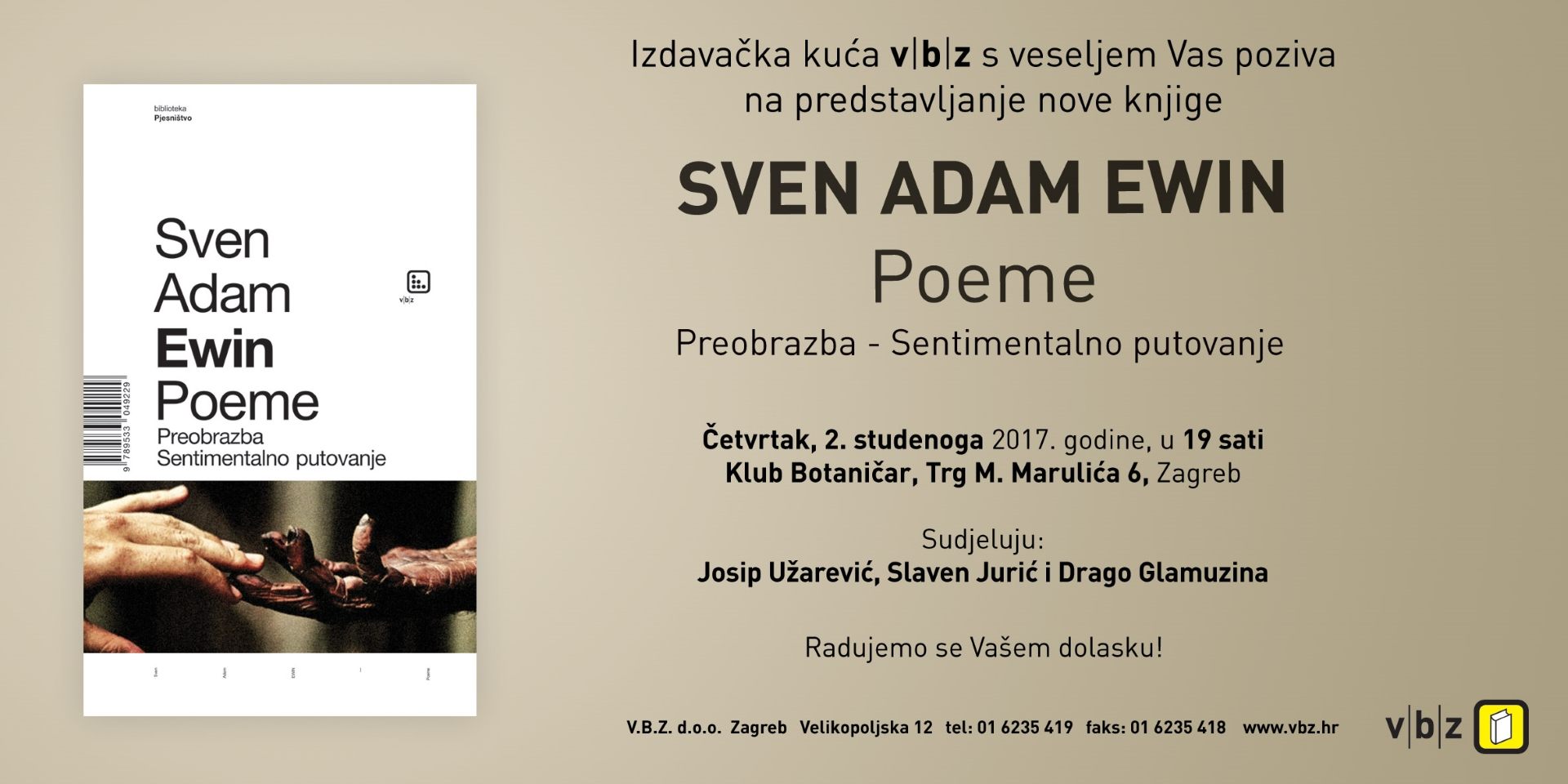 Predstavljanje knjige Svena Adama Ewina 'Poeme'