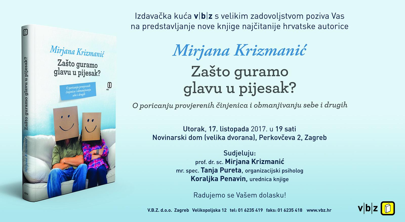 Predstavljanje nove knjige hrvatske autorice Mirjane Krizmanić