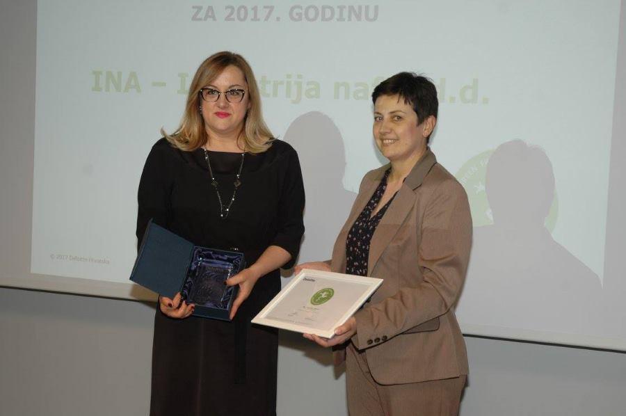 INA pobijedila na Deloitteovom natječaju za najbolje izvješće o održivom razvoju u Hrvatskoj za 2017. godinu