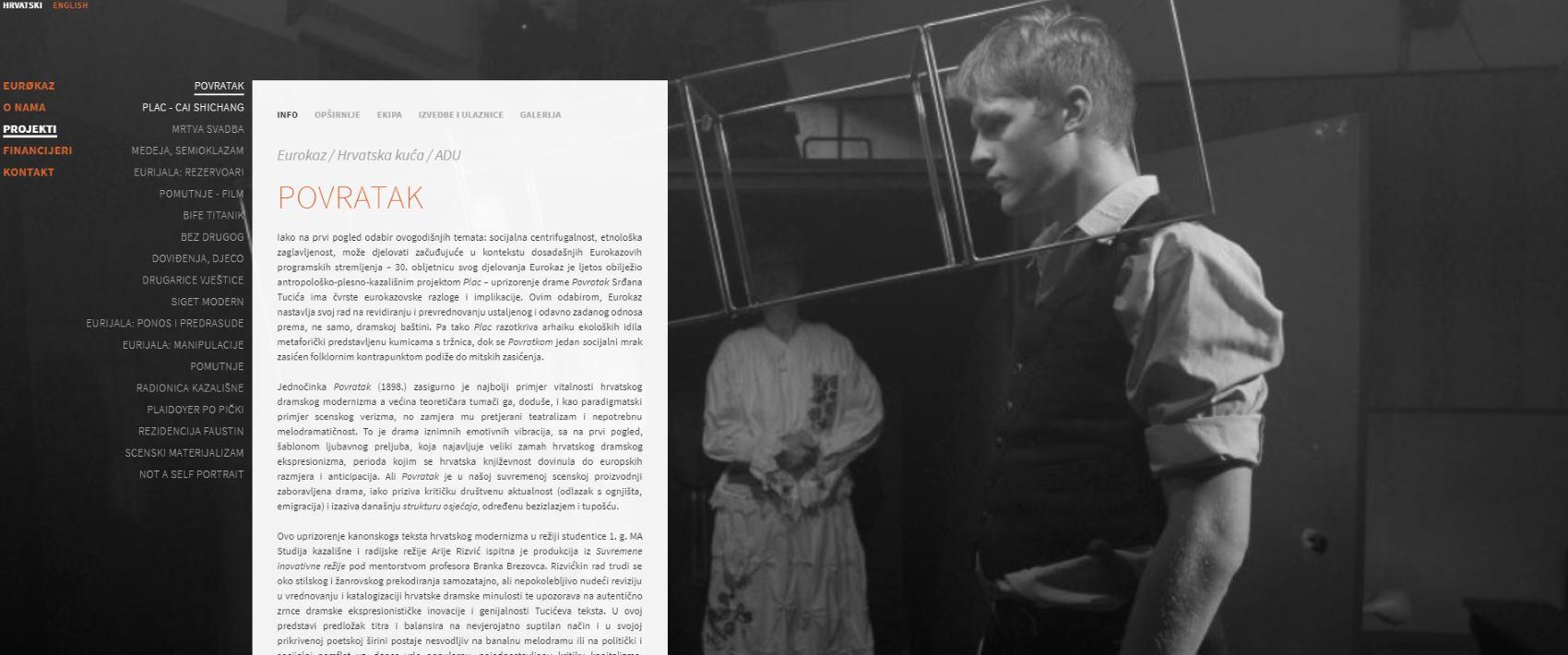 EUROKAZ Predstava 'Povratak' je primjer vitalnosti hrvatskog dramskog modernizma