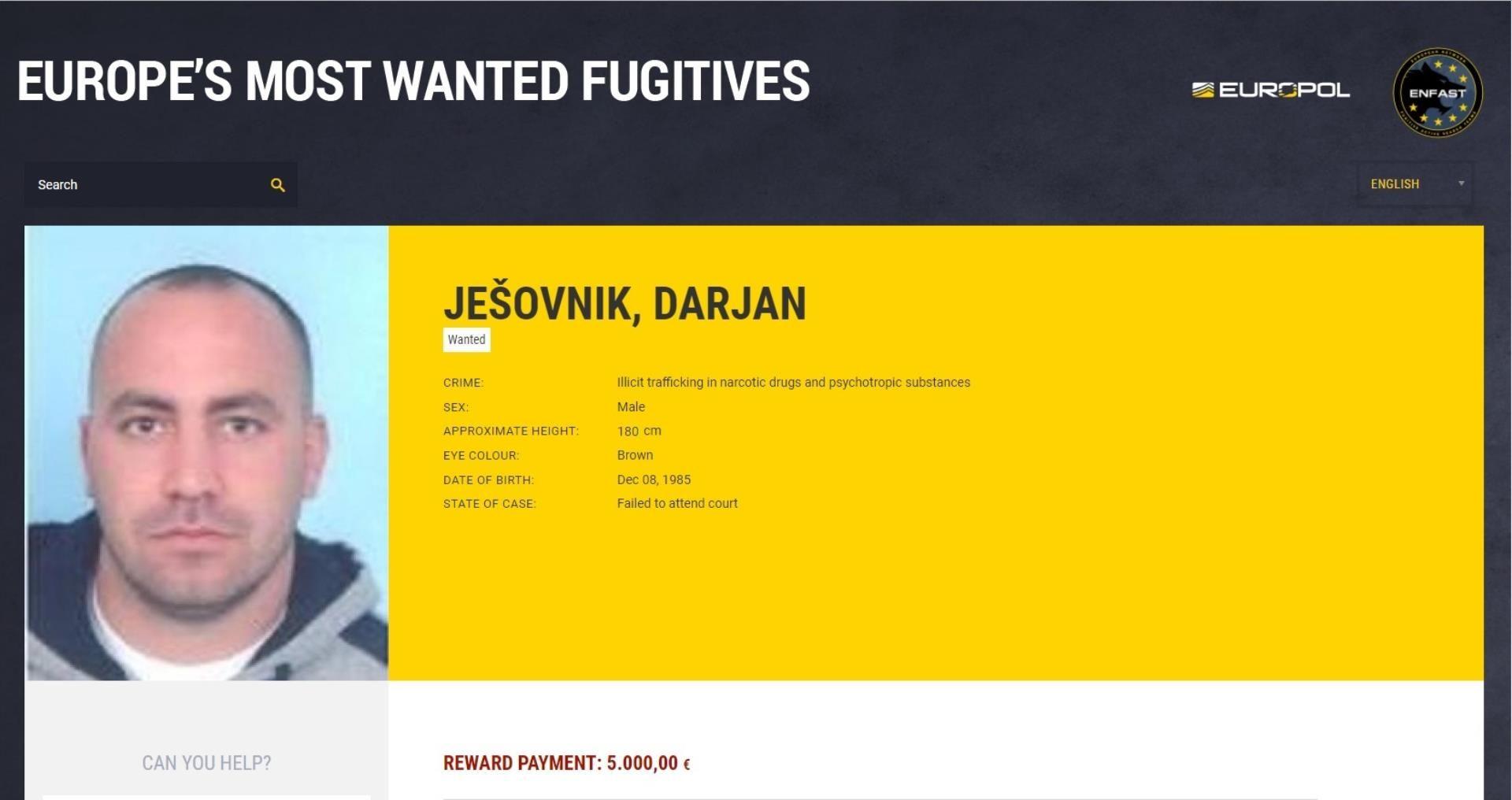 MUP Pet tisuća eura nagrade za informacije o jednom od najtraženijih bjegunaca u Europi