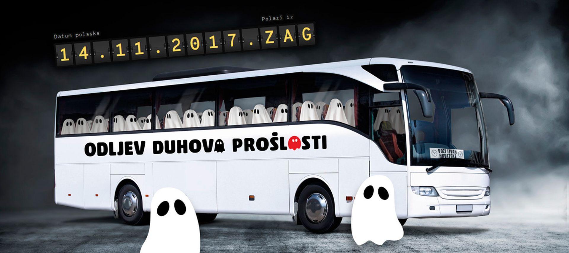 """SIMBOLIČNI """"ZBOGOM"""" IDEOLOGIJAMA I MITOVIMA Sutra (utorak) polazi autobus s duhovima prošlosti Titom, Pavelićem, Tuđmanom…"""