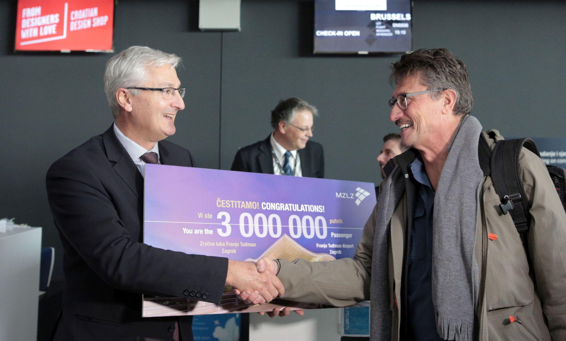 U Zagrebačkoj zračnoj luci dočekan ovogodišnji 3-milijunti putnik