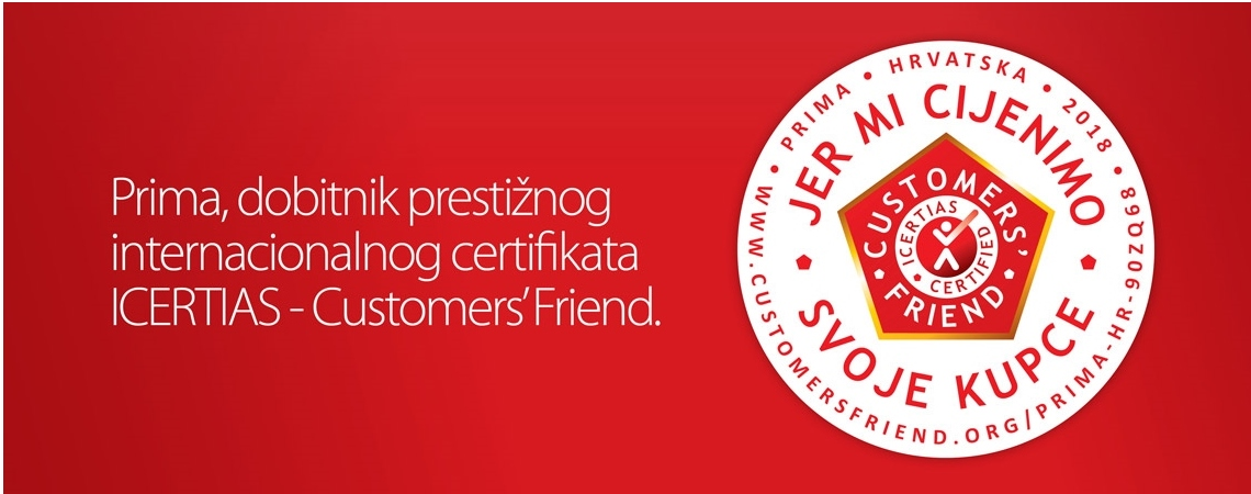 Tvrtka Prima Commerce d.o.o. je dobitnik certifikata ICERTIAS – Customers' Friend
