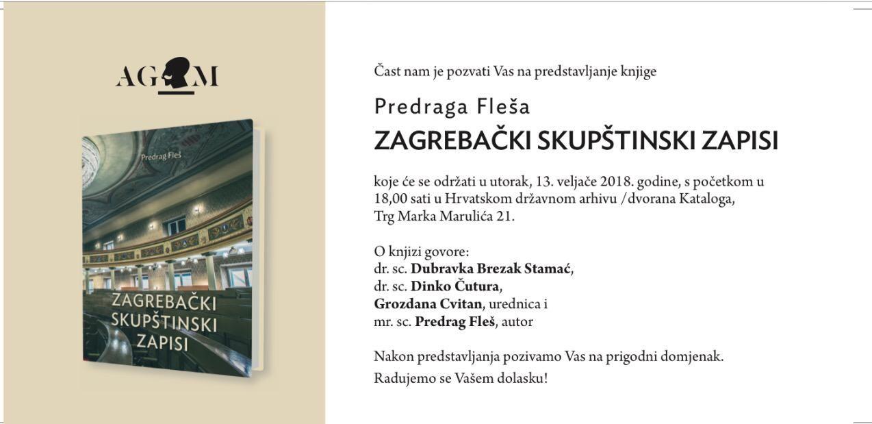 "PROMOCIJA U UTORAK ""Zagrebački skupštinski zapisi"" Predraga Fleša"