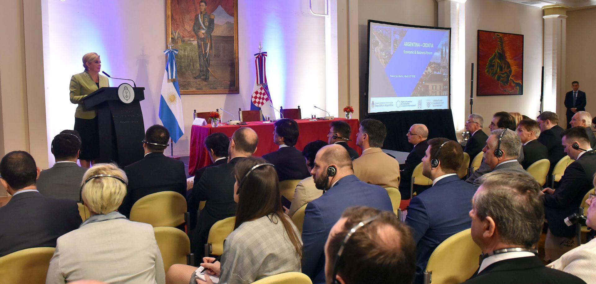 Grabar-Kitarović najavila jačanje gospodarskih odnosa s Argentinom